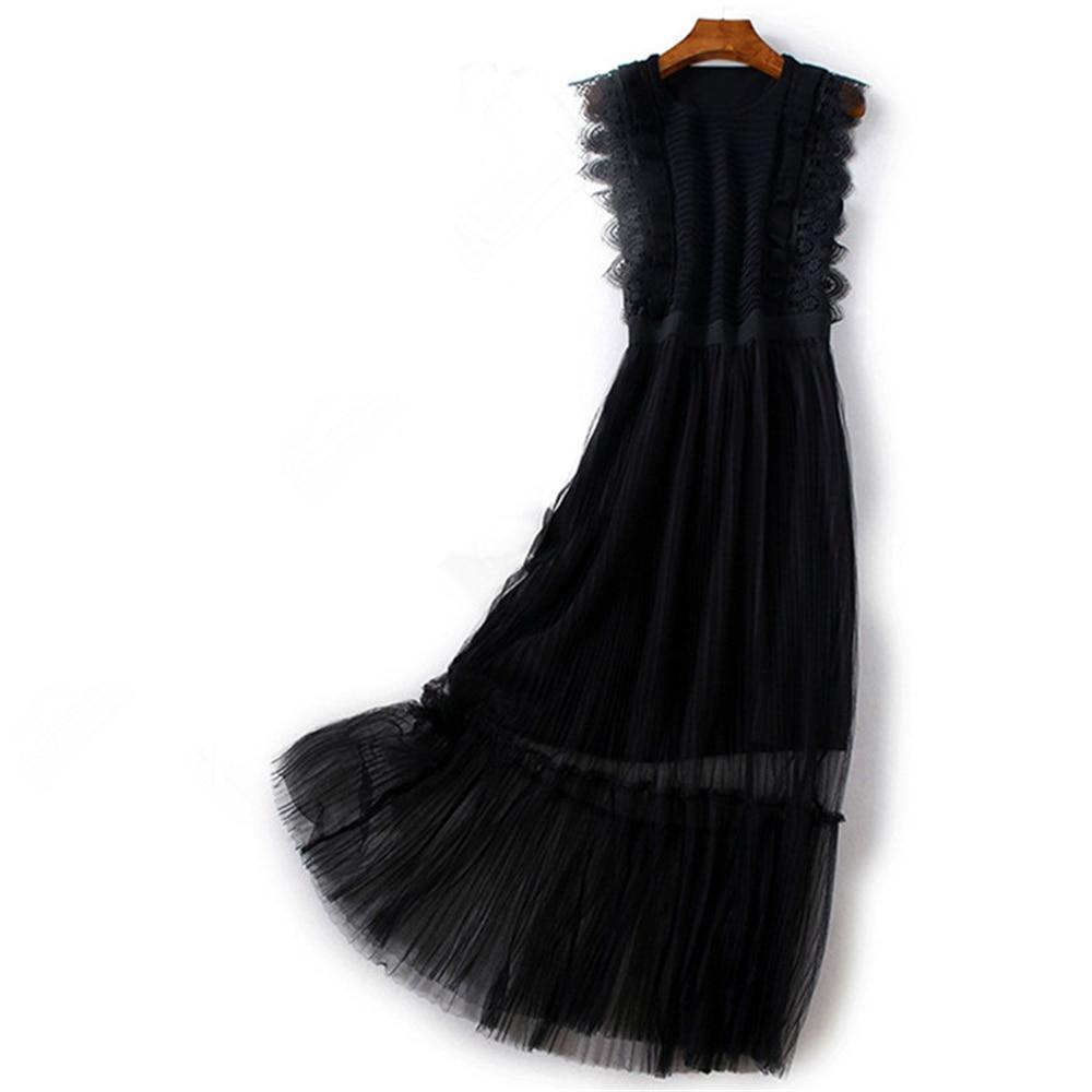 Tunjuefs Mesh Knitted Dress Women Robe Fake Lace Summer Elegant Ruffles Pullovers Sleeveless Dress Runway Vestido Slim Sundress