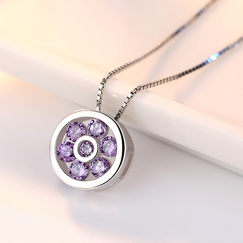100% 925 sterling silver new arrivals shiny crystal round pendant ladies`necklaces women short box chain jewelry gift