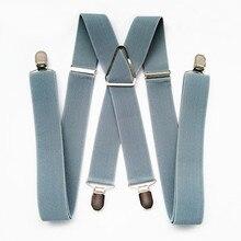 BD054-L, XL, XXL, размер, мужские подтяжки, 55 дюймов, регулируемый эластичный ремешок, X Back Pants, подтяжки, для женщин, девочек, клипсы на подтяжках, светильник, серый цвет