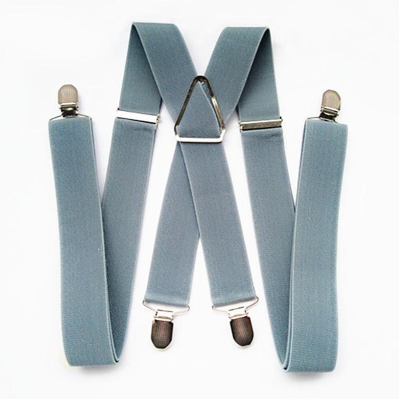 BD054-L XL XXL Size Men Suspender 55 Inch Adjustable Elastic Strap X Back Pants Suspender Women Girls Clips On Braces Light Gray