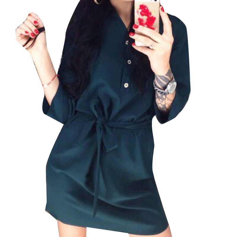 Laamei Casual Solid Bloues Dress Elegant 2018 Fashion Female Summer Sundresses Women Sho ...