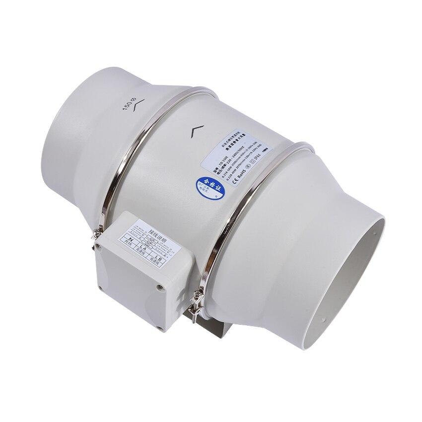 TD-150E 6 Mute bathroom Ventilation Fan Exhaust Air Mixed Flow Inline Ventilators Duct Fan Blower 220v/50Hz fantech fr 250 inline centrifugal 10 duct fan molded housing ã° 649 cfm