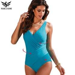 NAKIAEOI 2019 جديد قطعة واحدة ملابس السباحة النساء حجم كبير الرجعية Vintage لباس سباحة بحر طباعة ملابس سباحة حريمي Monokini 4XL