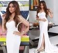 Myriam fares dress branco e ouro frisado bolero cristal arábia saudita dubai evening vestidos side slit sereia vestidos de baile 2017