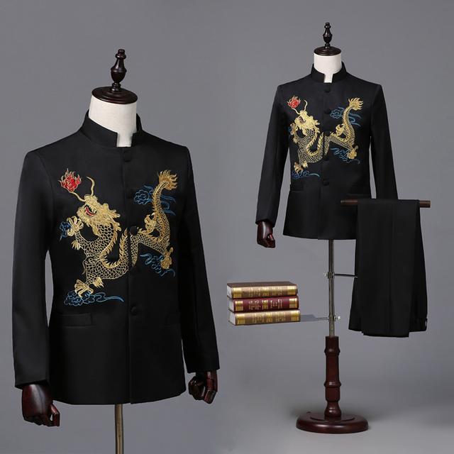 ( Jacket + pants ) estúdio traje dos homens dragão preto e branco colarinho bordado túnica vestido juventude terno cinco quatro coro para cantor