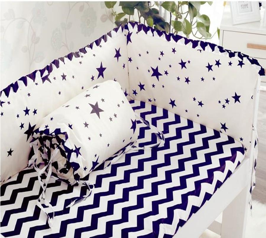 4 stk / sett baby sengetøy sett myke vaskbare seng støtfangere bomullstrykk kant nyfødt barneseng baby støvsuger seng rundt vaskeseng