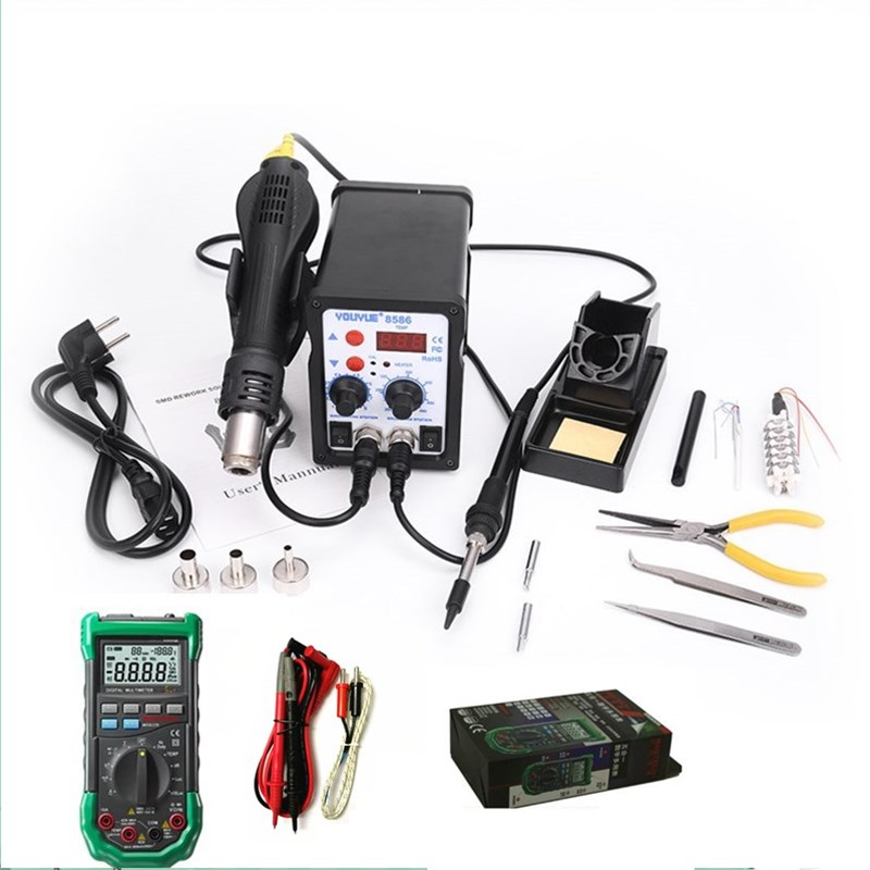 700W Soldering Station YOUYUE 8586 2 In 1 SMD Rework Station Hot Air Gun MS8229 Multimeter