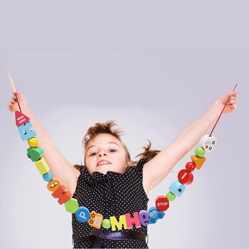 Perles en bois alphabet trafic jouets éducatifs pour enfants rond carré coloré Alphabet/lettre pour bracelet à bricoler soi-même collier cadeau