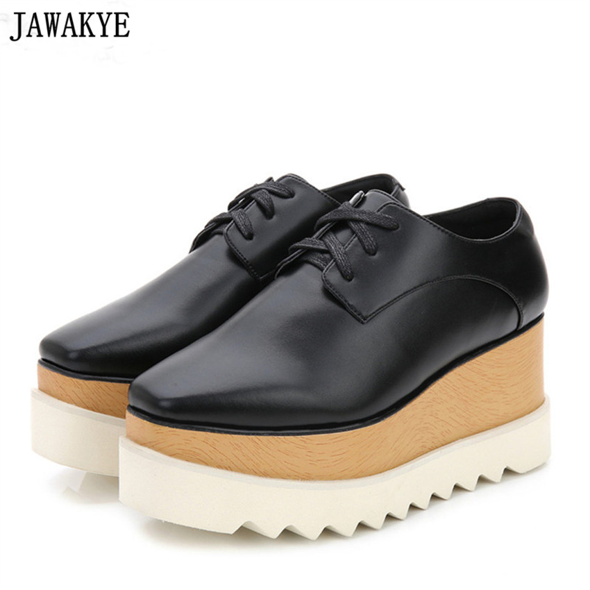 JAWAKYE golden silver five Stars Shoes Women high quality Square Toe lace up thick Bottom Platform