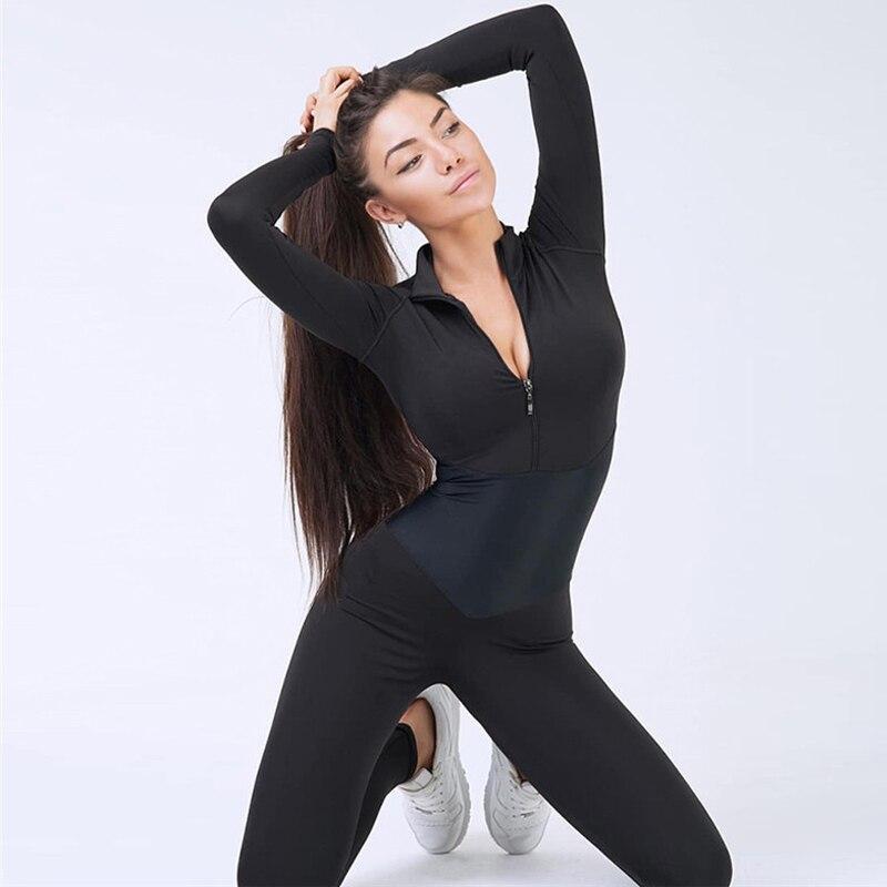 SALSPOR spor kadınlar siyah Patchwork spor tulum uzun kollu fermuar tulum seksi Yoga kıyafeti kadın spor giyim eşofman