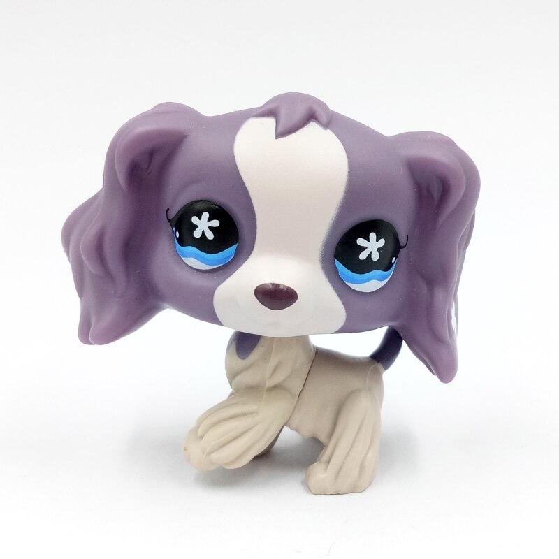 Rare animalerie mignon jouets chien #672 blanc violet cocker épagneul avec punny fleur vieux original cadeau collection bébé jouets