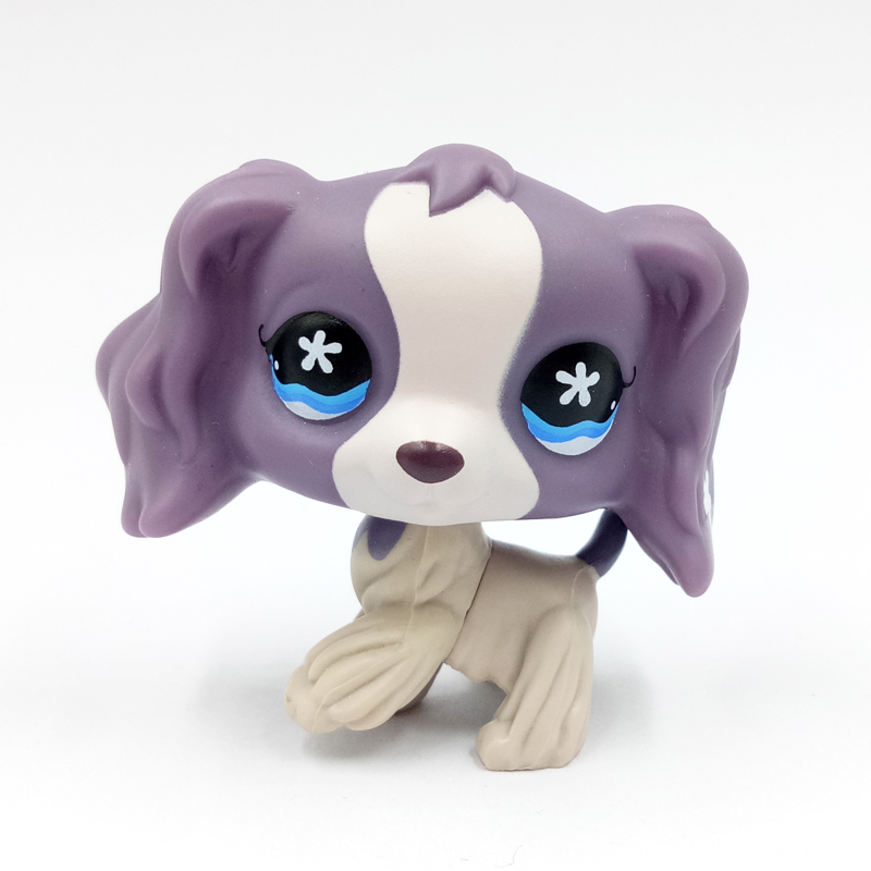rare pet shop cute toys dog #672 white purple cocker spaniel with punny flower old original gift collection <font><b>baby</b></font> toys image