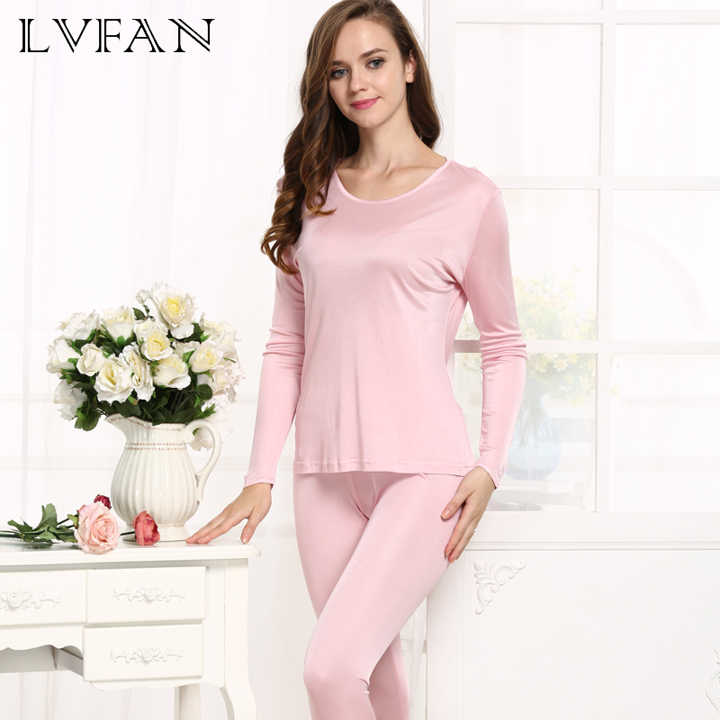 Warm Sleepwear Natural Silk Ladies Autumn Clothes Thermal Top +Long Pants Underwear Set Long Sleeve Bottoming Shirt Leggings