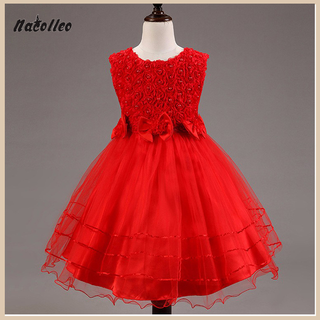 Nacolle Summer Style 3-10 Year Princess Dress For Girls Flowe lace baby dresses kids Sleevelesss Flora Costume Teenager Clothes