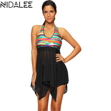 Two-Piece Print Push Up Tankini Dress