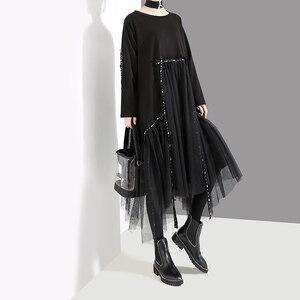 Image 4 - New Plus Size 2020 Korean Style Women Autumn Winter Black Loose Dress Long Sleeve Mesh Overlay Lady Casual Midi Dress Robe 4564