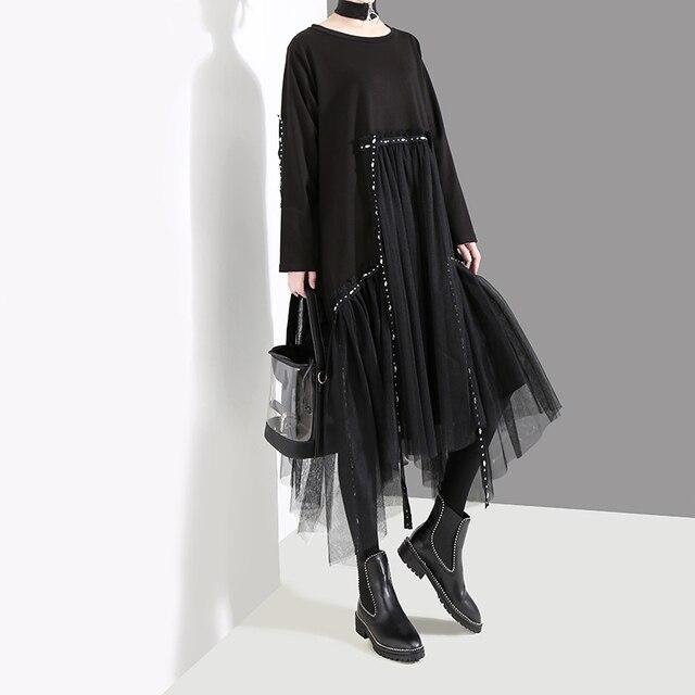 New Plus Size 2020 Korean Style Women Autumn Winter Black Loose Dress Long Sleeve Mesh Overlay Lady Casual Midi Dress Robe 4564