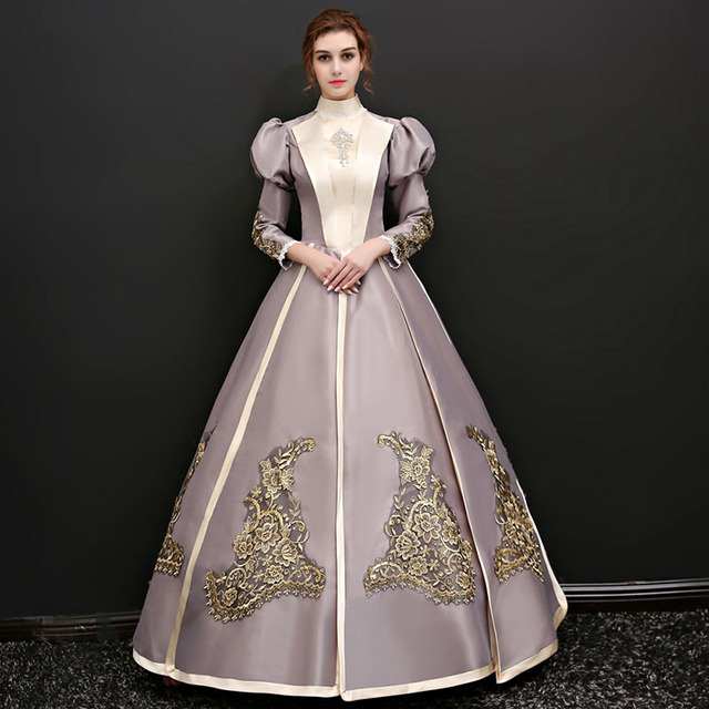 2018 Autumn Stand Collar Long Puff Sleeve Marie Antoinette Ball Gowns Gold  Appliques Pattern Court Princess Long Dress For Women 873dfc305