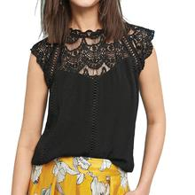 Yfashion Summer Chiffon Lace Blouse Women Sexy Hollow Collar Splice Tops Clothes Blouses Fashion Casual Female