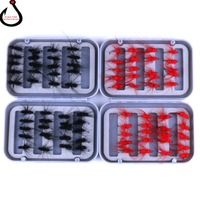 40 Pieces Black/Red Ant Single Hook Fly Fishing Trout Flies Fly Tackle Set Fly Fishing Lure with Box ZG 08