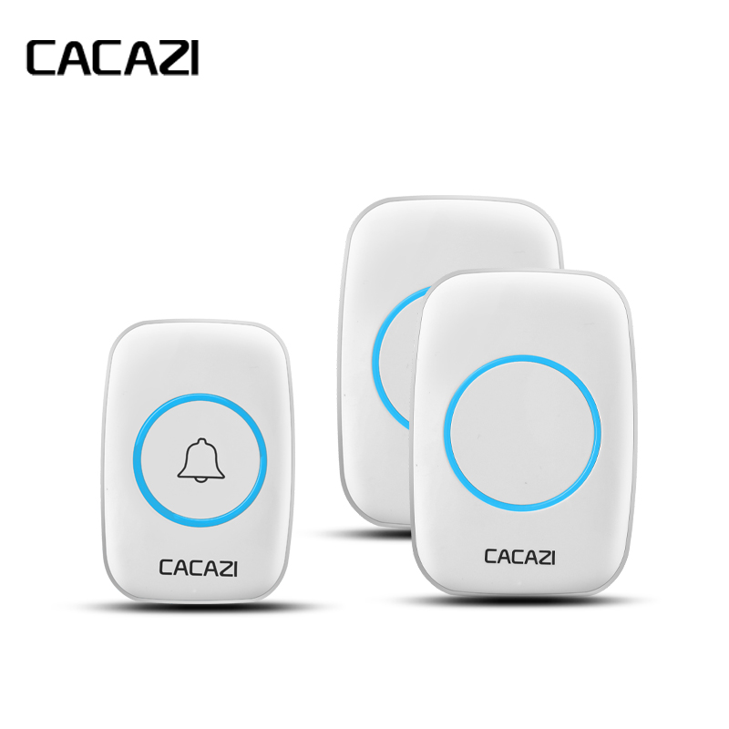 Image 2 - CACAZI New Waterproof Wireless Doorbell 300M Remote CALL EU/UK/US/AU Plug smart Door Bell Chime 220V 1V2 buttons 1V2 receivers-in Doorbell from Security & Protection