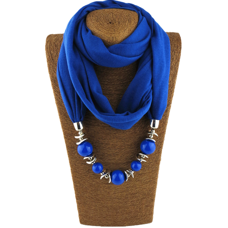 2018 New Shawl necklace ethnic style scarf Pendant scarf ceramic beads tassel peacock pendant Cotton scarf lady shawl necklace