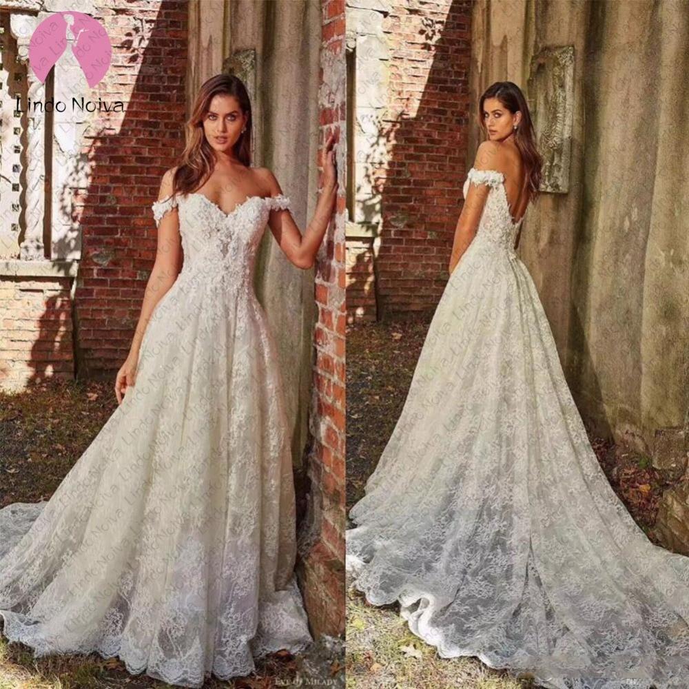 Vestido De Noiva 2019 Beach Wedding Dresses Boho Off Shoulder Applique Lace Sweetheart A Line Bridal
