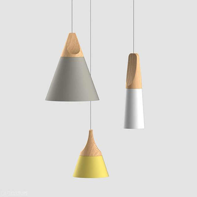 Современная Новинка подвесные светильники Красочные Ресторан Бар лампы простой Nordic Стиль деревянный железный Краски процесс 90-260 V E27
