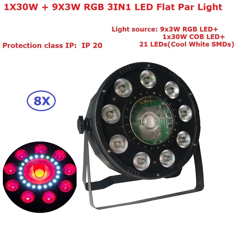 Flat Led Par Stage Light 1X30W + 9X3W 3IN1 RGB LED Stage Par Lights With 6/9 Chs Professional Dj Lighting Equipment Projector