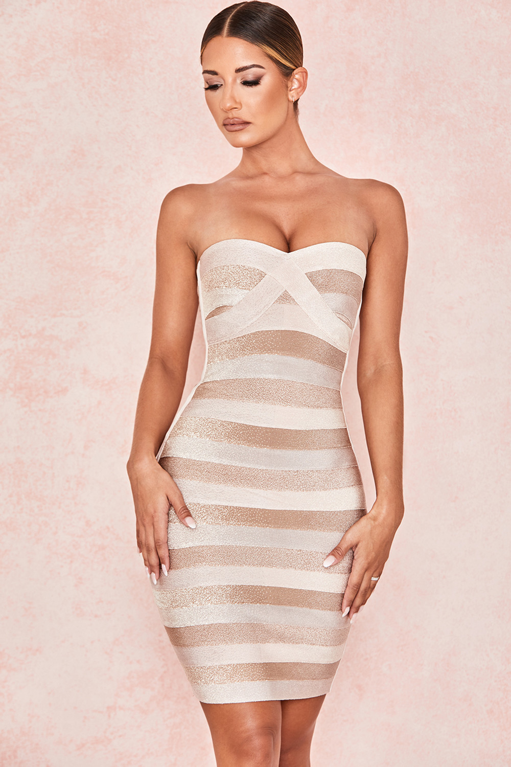 Lyer 2019 New High quality sexy strapless patchwork rayon bandage dress party