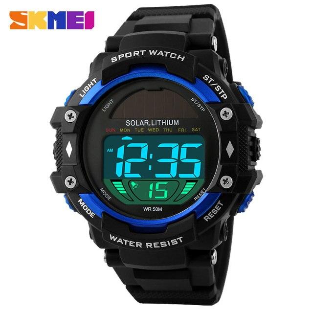 2017 nuevo popular marca skmei hombres deportes militares relojes de moda relojes de pulsera digital led de energía solar negro correa de caucho azul