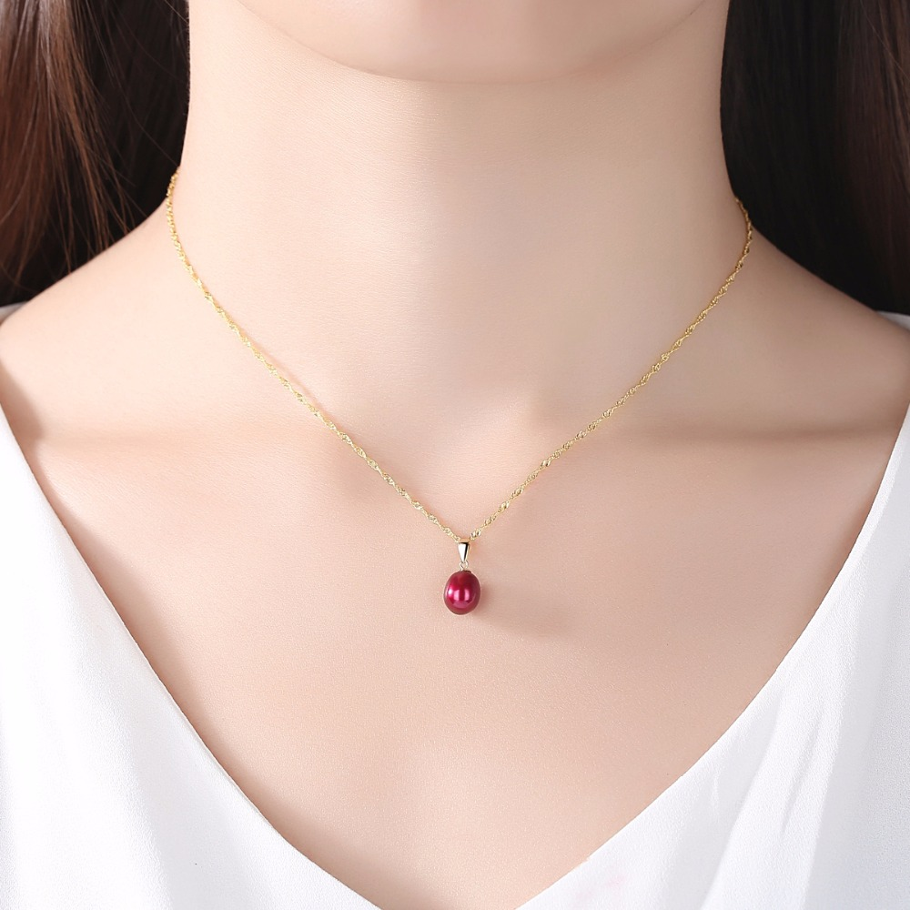 Image 3 - CZCITY 18K Yellow Gold Pendant Six Colors Natural Freshwater Pearl Pendant Free 925 Water wave Necklace 40+5cm Gift for Women-in Necklaces from Jewelry & Accessories