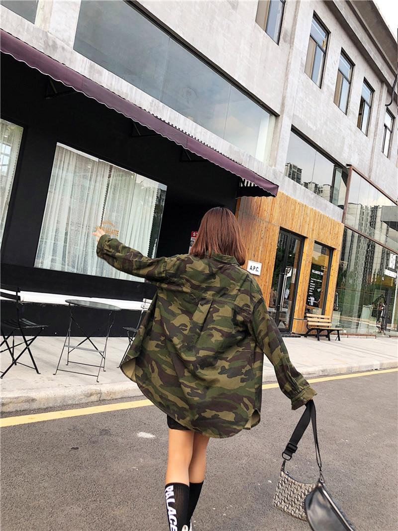 Nouvelle De Femmes Mode Lâche Longue Camouflage Automne Veste Yingyuanfang Green Occasionnel PaqwZW7g