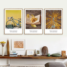 Forest Landscape Wall Art Canvas Painting Nordic Posters Living Room Book Poster Bike Print Yellow Unframed