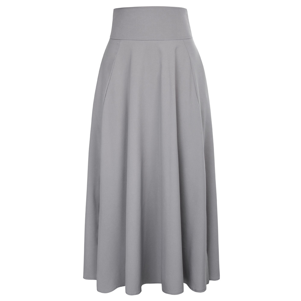 1080b9deeb 2018 Spring Summer Belted Skirt Black Gray Maxi Skirt Retro High Waist Back  With Bow Tie Grey Pleated Long Women's Skirts Faldas