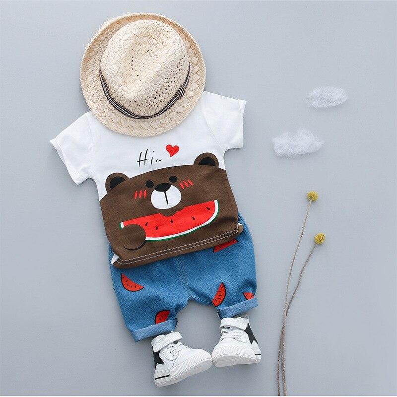 KINE PANDA Baby Boy Summer Clothes Set Toddler Boys Clothing t shirt + Short Pants Denim Cotton Sport Suits 2PCS 0-1-2-3Y