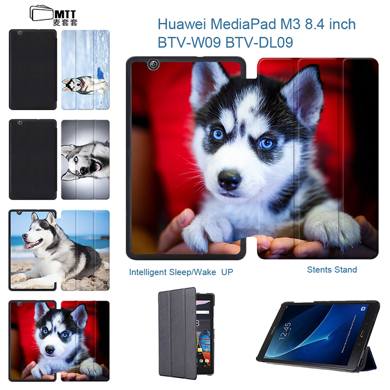 Husky Dog Shell Skin Media Pad M3 PU Leather Case Cover Slim Smart Tablet Fundas For Huawei MediaPad M3 8.4'' BTV-W09 BTV-DL09 luxury slim cover case for huawei mediapad m3 lite 8 0 cpn w09 cpn al00 8 smart case funda tablet pu leather stand skin shell