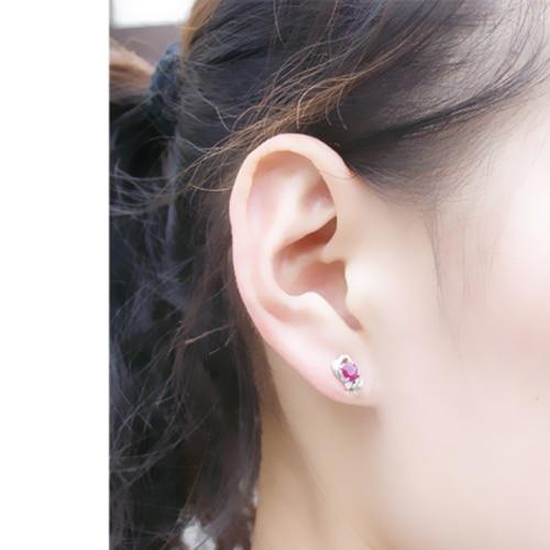 Brinco Qi Xuan_Free D'expédition Pierre Rouge Fleur Élégante Earrings_S925 Solide Argent Mode Earrings_Manufacturer Directement Vente - 3