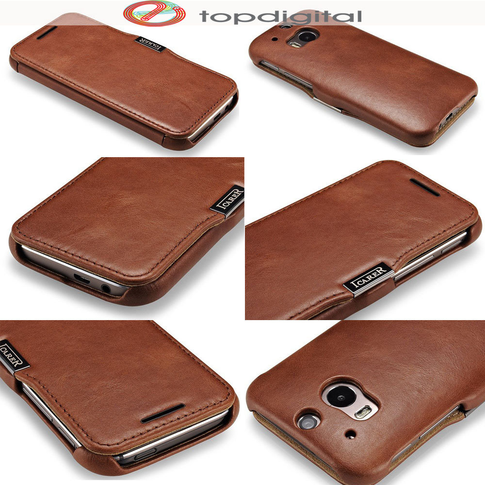 lowest price df537 58e66 US $16.99 |icarer TOP Genuine Leather Case for HTC One M8 Flip Wallet Phone  Case Magnetic Cover for HTC M8 Card Slots Holder Vintage Red-in Flip Cases  ...
