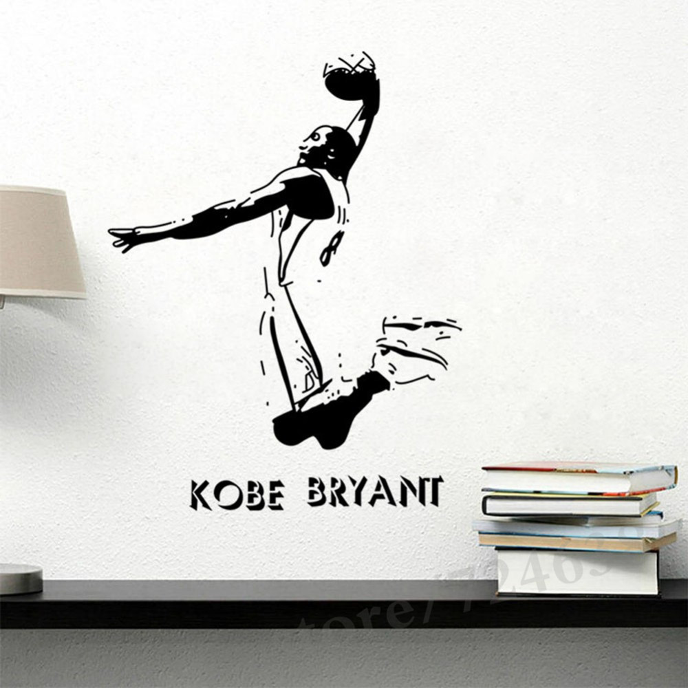 Vinyl removable sports wall stickers nba basketball player lakers kobe bryant poster wall stickers home decor decals in wall stickers from home garden on