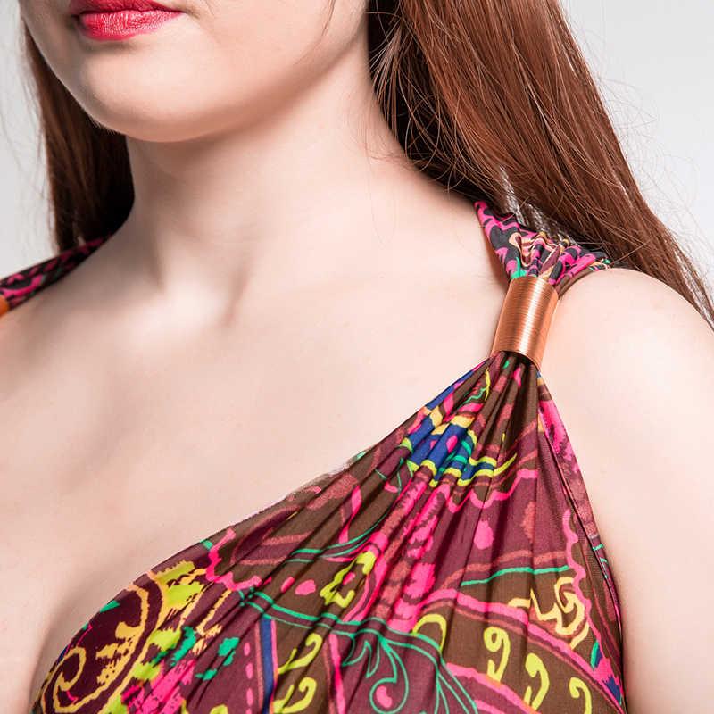 חוף 2019 בציר נשים קיץ שמלה ללא שרוולים V צוואר 7XL גדול גודל רצפת אורך בוהמי מקסי חוף שמלת Vestido דה festa