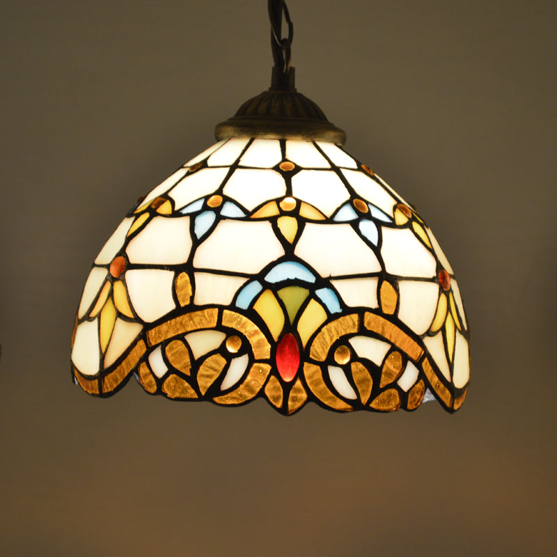 Tiffany Pendant Light Stained Glass Lampshade Baroque Style Dining Room Luminaires E27 110-240V fumat stained glass pendant lamps european style glass lamp for living room dining room baroque glass art pendant lights led