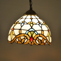 Tiffany Pendant Light Stained Glass Lampshade Baroque Style Dining Room Luminaires E27 110 240V