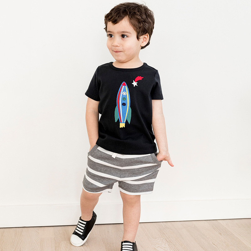 2-7 Years Children Summer Baby Boys Clothing Set Cotton Kids Sets Striped Rocket Embroidery T-shirt & Shorts Outfits
