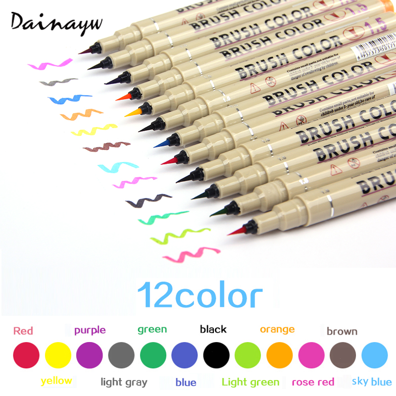12colors Drawing Artist Soft Brush Pen Sketch Marker For School Children Stationery Watercolor Design Paints Art Supplies