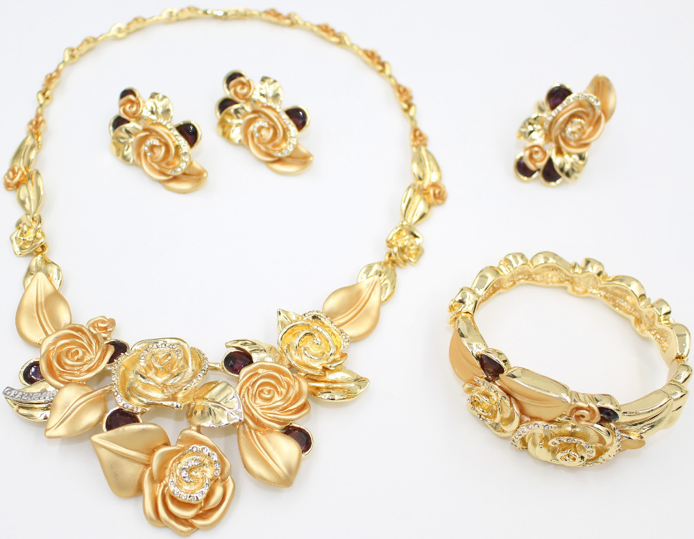 e0e23afba29 2015 new African clothing fashion design 18k gold plated jewelry bridal  africa nigeria set of Roses Jewellery Set