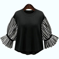 Spring New Style Round Neck Stripe Knitwear Europe And America Women S Clothing Plus Size Loose