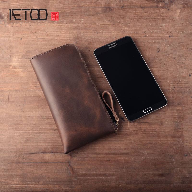AETOO Handmade leather wallet genuine leather retro simple long seven characters zipper purse wave wallet phone bag