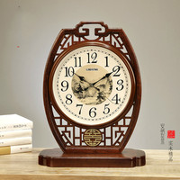 1PCS Large solid wood Chinese style clock sitting room ornaments clocks and watches Chinese style desk retro mute clock LU614526