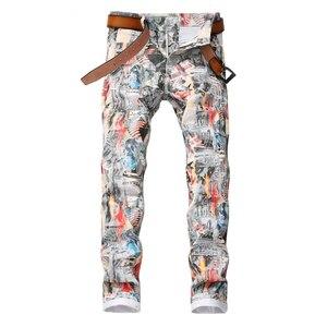 Image 1 - Sokotoo ผู้ชายภาษาอังกฤษธงความงามสาว 3D พิมพ์กางเกงยีนส์ Slim fit สีทาสียืดกางเกง